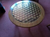 Genuine 1960's vintage Round amber glass coffee table - Bournemouth BH5