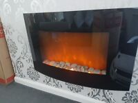 Electric curved wall fire