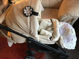 Babystyle Lux Cream Leather Stroller Set
