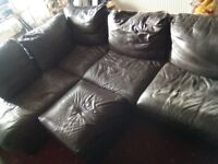 Brown Leather Corner Sofa with Footstool £50