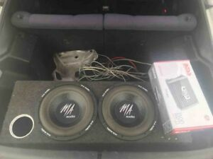 "2 12"" M/A audio subs in box w 1500w boss amp"