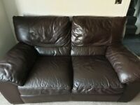 Brown leather sofa 3 + 2 seaters + footstool
