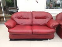 Burgundy Red Leather 3 Seater Sofa & Reclining Chair