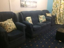 Blue 3 seater and two 1 seaters for sale