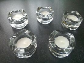 5 Solid Glass Tea Light Candle Holders with tea lights