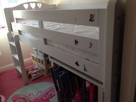 CABIN BED + Cupboard + Desk. White Wood. Pretty Heart Design. From Next