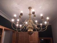 18 light ceiling chandelier antique brass