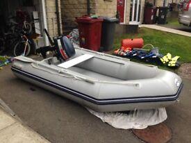 Waveline 2.7m inflatable boat, Yamaha 4hp two stroke engine, 4 life jackets, seat, paddles