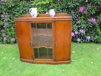 20th Century Art Deco Oak Display Cabinet/ Bookcase with working Key.