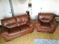 Quality Brown Leather Sofa and Chair (ONO)