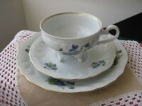 """Weimar Porcelain"" trio with violet pattern, footed teacup, saucer and desert plate"