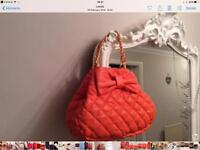 Large very orange quilted tote bag new gorgeous two way Gold chain straps Can post £3.50