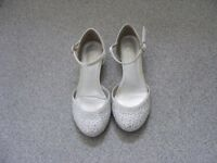 A pair of gorgeous silver Monsoon party shoes/sandals with ankle strap. Size 13