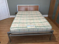 Double Bed, metal frame with timber slat headboard