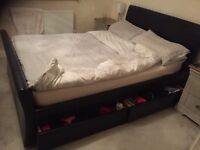 Double storage sleigh bed