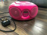 Philips CD player with Radio, hot pink, perfect for kids