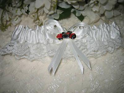 Wedding Ceremony Party Red & Black Motorcycle Hog Biker Chick Garter - Motorcycle Wedding Accessories