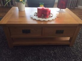 Oak Coffee Table and Matching Display Unit in excellent condition