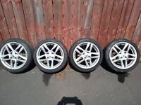 4 X 16 INCH RENAULT ALLOYS WITH PART WORN TYRES