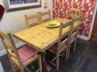 Antique Pine Dining Table & 6 Chairs