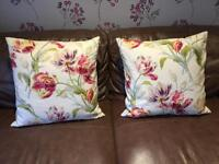 Laura Ashley Large 2 x square floral cushions cream biege