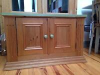 Pine cabinet with olive painted top and knobs