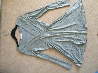 """""""Oh my love"""" low cut wrap skater dress silver size small (8-10)"""