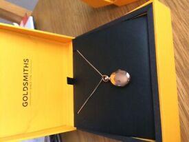 Goldsmiths rose gold locket and diamond earrings