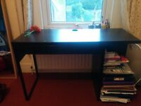 BLACK WOODEN DESK WITH DRAWER + WHEELED CHAIR INCLUDED