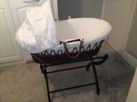 Baby wicker Moses basket & Stand. (izzywotnot)
