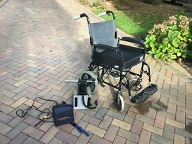 Wheelchair motor and battery pack rechargeable with button controller