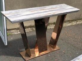 Ex-display/Slight seconds** Rose gold frame marble console table