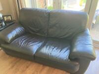 Dark brown leather 2 x 2 seater plus armchair