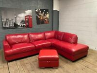 HARVEYS RED LEATHER CORNER SOFA AND FOOTSTOOL CAN DELIVER