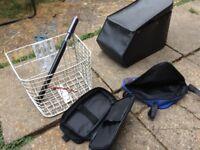 Adult bike front basket rear bag wth side bags