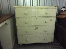 Vintage Cream Chest of 5 Drawers Wooden