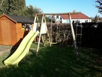 Wooden Climbing Frame with slide swing and rope ladder