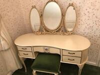 Antique Louis style dressing table with matching mirror
