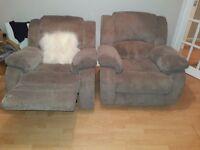 Habitat, beige fully reclining armchairs x 2