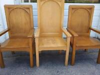 Solid Wood Art Deco 3 Throne Chairs Church Style High Back