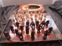LORD OF THE RINGS THE TWO TOWERS CHESS SET BOARD GAME .VGC.100% COMPLETE