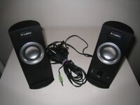 PAIR OF BLACK LABTEC COMPUTER SPEAKERS