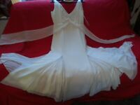 Stunning ivory calf length dress by COAST size 12(small) poss. 10 with tiny black beading detail