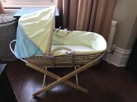 Moses basket, with stand and mattress.