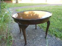 walnut veneer round coffee table