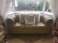 Leather 3 pc chesterfield beige