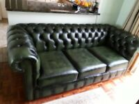 3 Seater Chesterfield sofa and armchair- Genuine leather- Antique Green