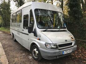 FORD TRANSIT 350 2.4TDCI LWB 17 str minibus 2002/52 silver COIF