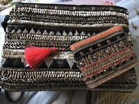 Black embellished clutch bag with matching purse never used