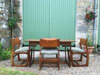 Retro / Mid Century Teak Dining Table and Four Chairs. Delivery possible. SOLD